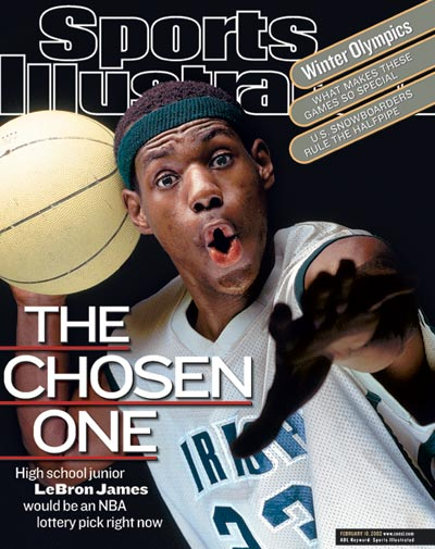 On the SI cover on Feb. 2, 2002, LeBron's headband sits about an inch and a half above his eyebrows. (Michael J. LeBrecht II/SI)