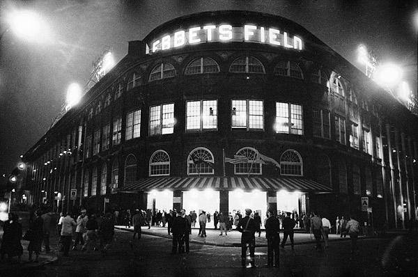 Ebbets Field was lit up one last time on Sept. 24, 1957 before the last game in the ballpark's history. (Richard Meek/SI)