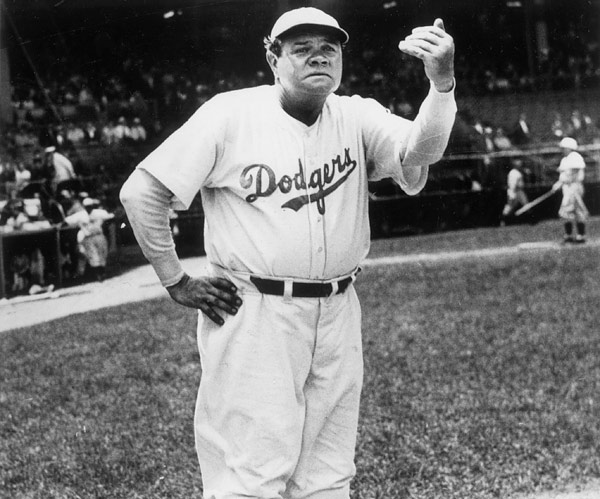 Babe Ruth retired as a player in 1935 and his only in-uniform job in baseball after that was a one-season stint as the Dodgers third base coach in 1938.  (Photo by Mark Rucker/Transcendental Graphics, Getty Images)