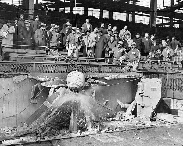 A wrecking ball painted as a baseball broke apart Ebbets Field and many of the hearts of Dodgers fans in the borough. (Photo by Paul Bernius/NY Daily News Archive via Getty Images)
