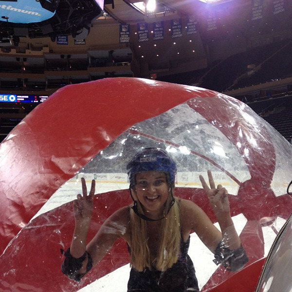 @genevievemorton: Pre ball race at msg with @tashy_tashb and @derekkettela