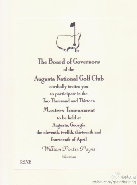 6. This is what an official invitation to the Masters looks like.