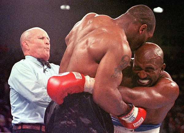 Mike Tyson famously bit Evander Holyfield's ear during their hotly anticipated rematch.