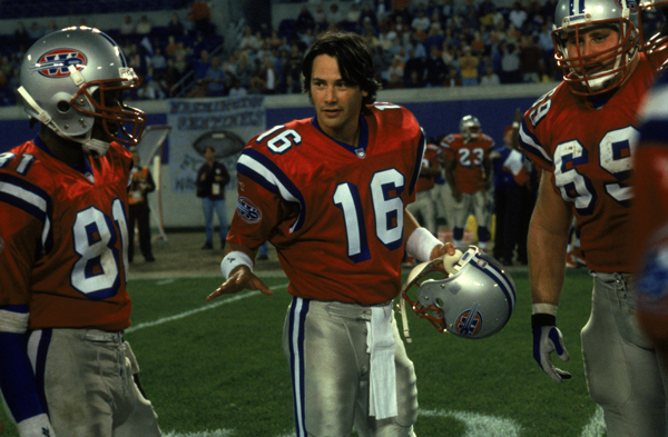 "THE REPLACEMENTS (2 stars): ""It's like a standard sports movie, but with every point made twice or three times--as if we'd never seen one before. And the musical score provides such painstaking instructions about how to feel during every scene, it's like"