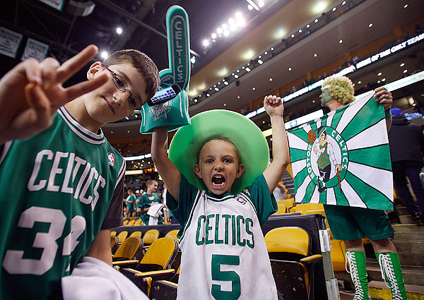 Celtics fans, Game 6 versus Knicks. (Jim Rogash/Getty Images)