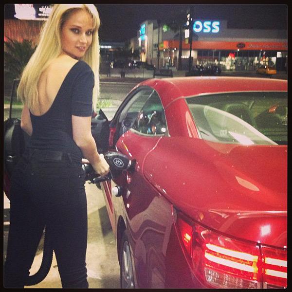 @genevievemorton: Filling up my @lexus with @malina_g_ #la