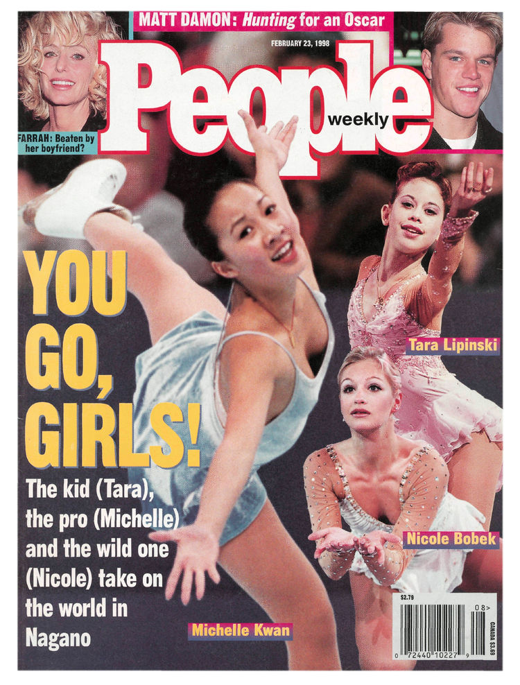 U.S. figure skaters (Feb. 23, 1998): Michelle Kwan, Nicole Bobek and Tara Lipinski (who eventually won gold) landed the cover during the Nagano Olympics.