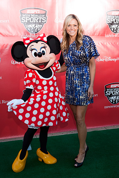 Jennie Finch and Minnie Mouse :: Matt Stroshane/Getty Images