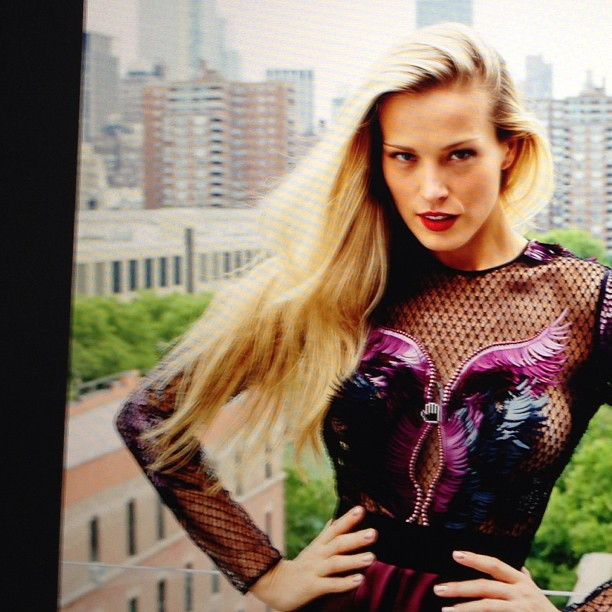 @pnemcova: We are looking through some cool picks from today's shoot with @DerekKettla for #marieclaire. #INY in the background!
