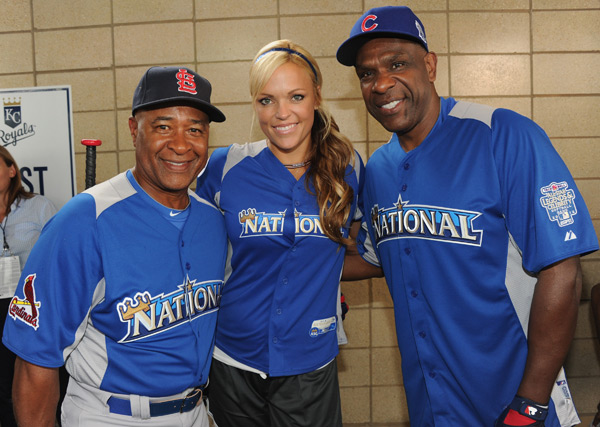 Ozzie Smith, Jennie Finch and Andre Dawson :: Rick Diamond/Getty Images