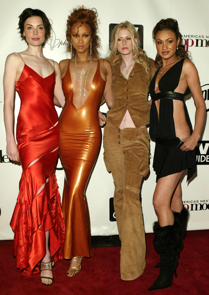 Cycle 2 winner Yoanna House poses with Banks, Shandi Sullivan and Mercedes Scelba-Shorte at the Cycle 2 finale party in March 2004. (Chris Polk/FilmMagic)