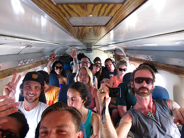 On a board a 20-seat charter plane in Panama while shooting for the 2012 issue.