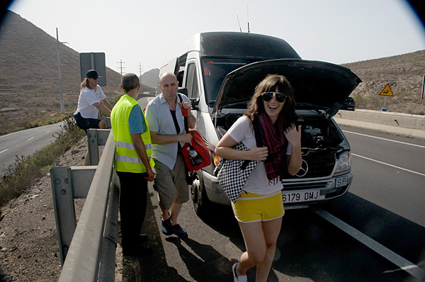 A broken down van while on location in Portugal during a 2010 shoot.