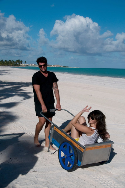 A new form of travel -- the beach cart -- put in use while on location in the Dominican Republic for the 2009 issue.