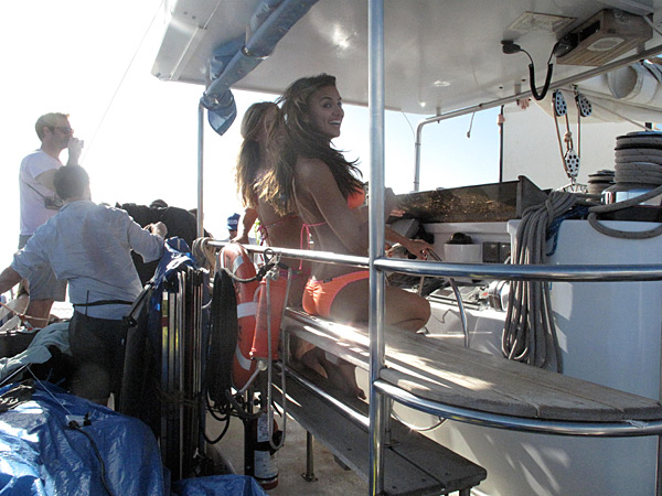 Irina Shayk is captain of the catamaran while in Maui during a shoot for the 2011 issue.
