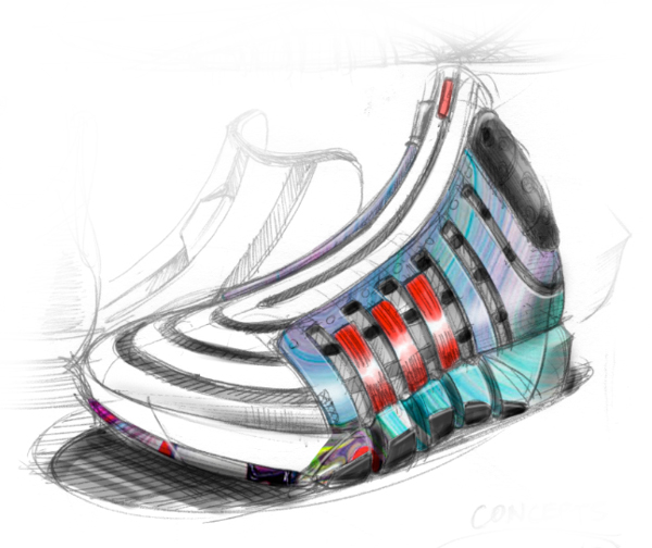 A concept drawing of the D Howard 4, the latest Adidas signature shoe for Rockets center Dwight Howard. (Adidas)