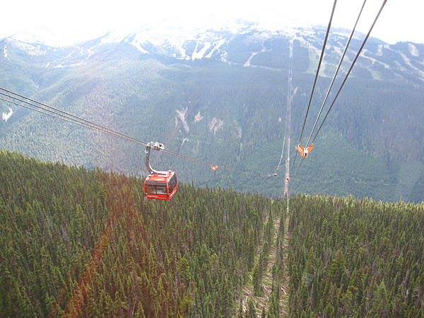 A gondola glides between peaks in Whistler, 2010 issue.