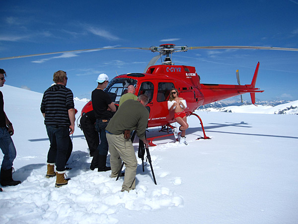 Lindsey Vonn poses against a helicopter at the top of an untouched glacier in Whistler, 2010 issue.
