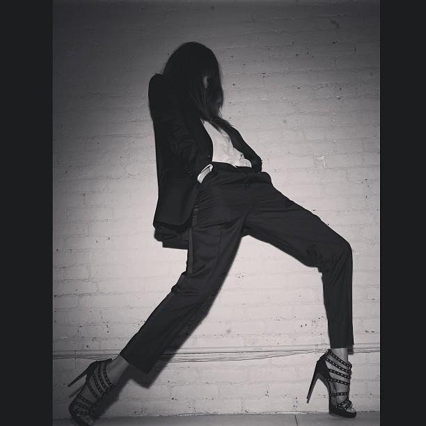 @kenzafourati: Femme en tuxedo. @blkdnm suit. Makes me feel feminine. Powerful.
