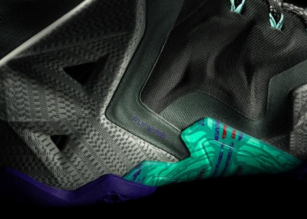 "A detail look at Heat forward LeBron James' latest signature Nike shoe, the ""LeBron 11."" (Nike)"