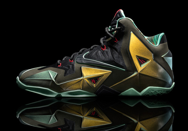 """A side angle of Heat forward LeBron James' latest signature Nike shoe, the """"LeBron 11."""" (Nike)"""