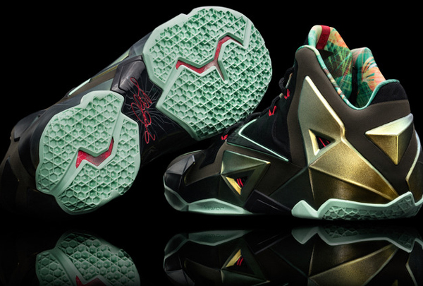 "A look at the sole and a reverse angle of Heat forward LeBron James' latest signature Nike shoe, the ""LeBron 11."" (Nike)"
