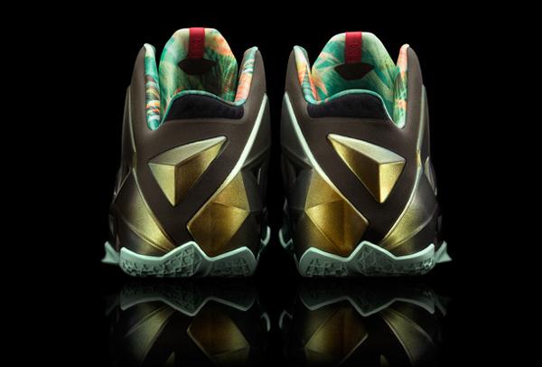 "A look at the back of Heat forward LeBron James' latest signature Nike shoe, the ""LeBron 11."" (Nike)"