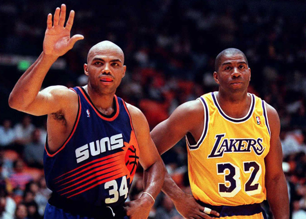 "Charles Barkley in the Suns' ""sunburst"" purple jersey in 1996.                                                               (Vince Bucci/Getty Images)"