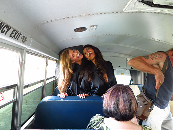 Nina Agdal and Ariel Meredith mess around on the school bus in the Bahamas, 2013 issue.