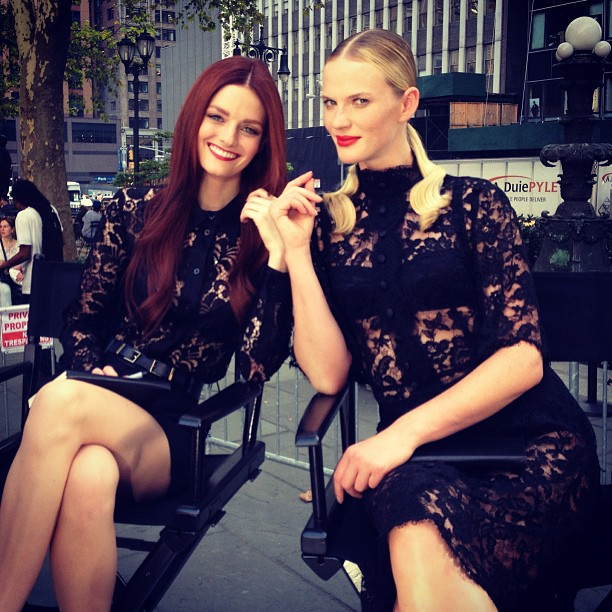 @annev_official: @lydiahearst and I on set of #TheFace at Bryant Park taking a little break before we meet our contestants @oxygenmedia