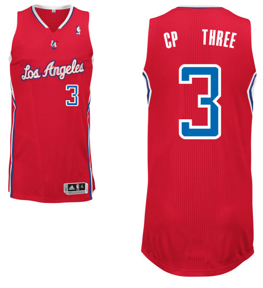 "Chris Paul's road red Los Angeles Clippers nickname jersey with ""CP Three"" on the back. (NBA.com)"