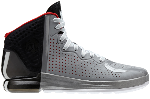 "A side view of the gray home colorway of the ""D Rose 4,"" Adidas's latest signature shoe for Bulls guard Derrick Rose. (Adidas)"