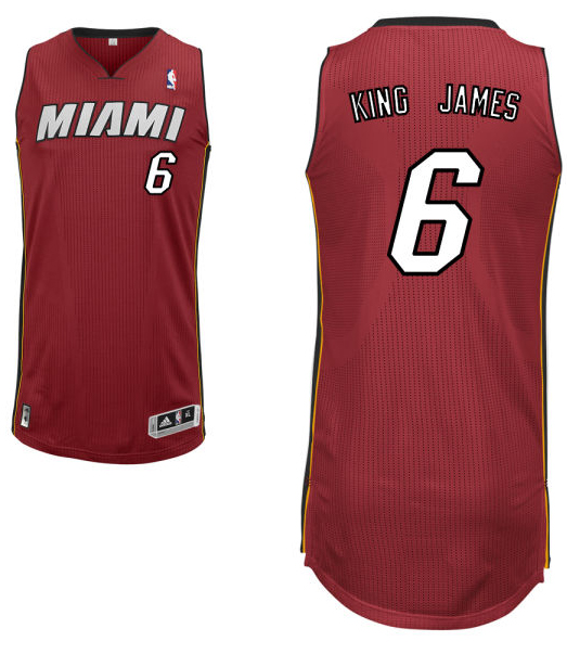 "LeBron James' alternate red Miami Heat nickname jersey with ""King James"" on the back. (NBA.com)"
