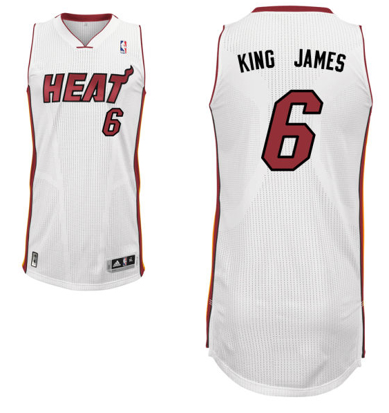 "LeBron James' home white Miami Heat nickname jersey with ""King James"" on the back. (NBA.com)"