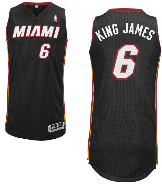"LeBron James' road black Miami Heat nickname jersey with ""King James"" on the back. (NBA.com)"