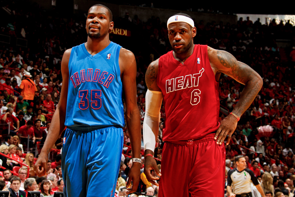 LeBron James (right) and the Heat beat Kevin Durant's Thunder on Christmas. (Issac Baldizon/Getty Images)