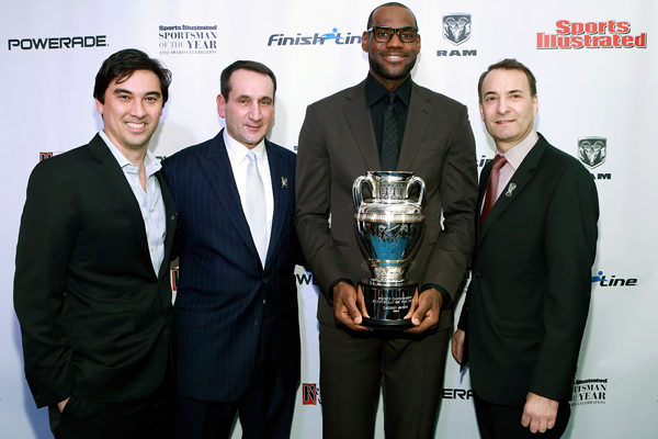 LeBron James (third from left) was named Sports Illustrated's 2012 Sportsman of the Year. (John Lamparski/WireImage)