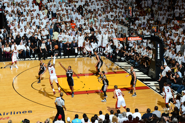 LeBron James (left) hit a key late jumper in Game 7 of the Finals against the Spurs. (Garrett Ellwood/Getty Images)