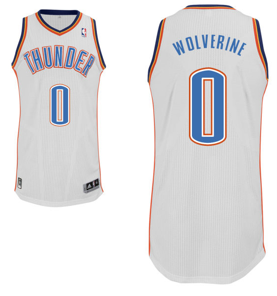 "Russell Westbrook's home white Oklahoma City Thunder nickname jersey with ""Wolverine"" on the back. (NBA.com)"