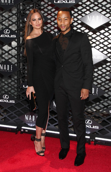 Christine Teigen and John Legend attend the Lexus Design Disrupted Fashion Event at SIR Stage 37. (Photo by Taylor Hill/Getty Images)
