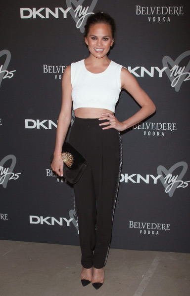 l Christine Teigen attends the #DKNY25 Birthday Bash at 23 Wall Street.  (Photo by Jim Spellman/WireImage)