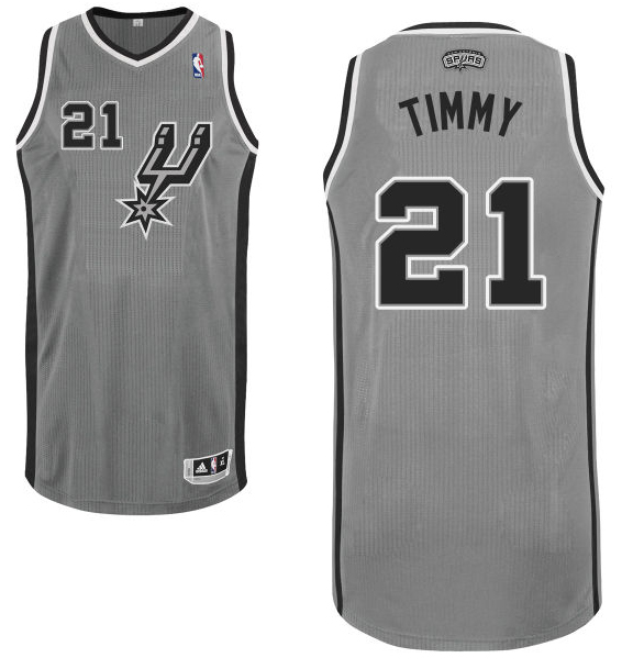 "Tim Duncan's gray alternate San Antonio Spurs nickname jersey with ""Timmy"" on the back. (NBA.com)"