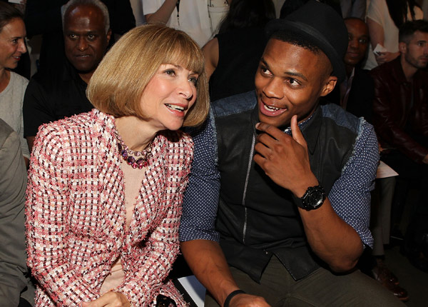 Russell Westbrook (right) chats with Vogue editor Anna Wintour during New York Fashion Week. (Paul Morigi/Getty Images)