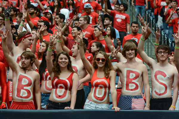 Houston fans with an interesting message during Saturday's game against BYU. (Robert Chambliss/Icon SMI)