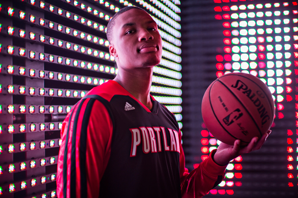 Damian Lillard models the Blazers' new long-sleeve shooting shirt. (Adidas)