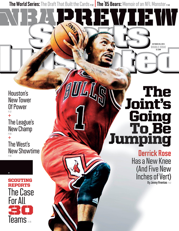 Bulls guard Derrick Rose graces one the regional covers for Sports Illustrated's 2013-14 NBA season preview issue. (Michael Hickey/Getty Images)