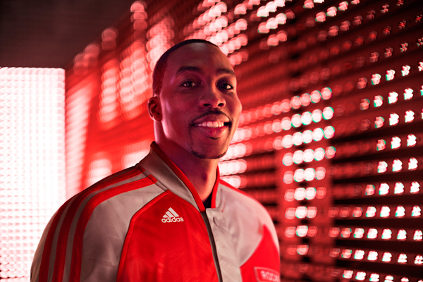 Dwight Howard models the Rockets' new warm-up jacket. (Adidas)