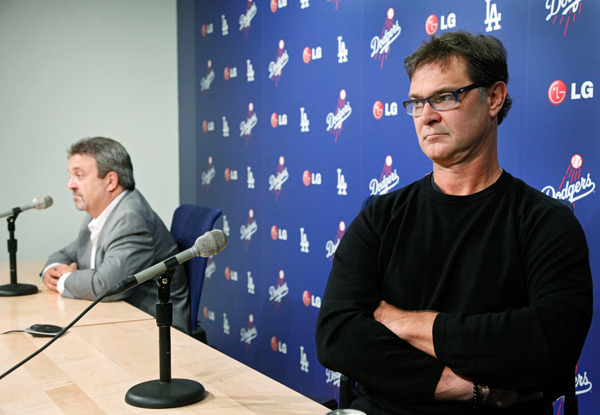 Will Don Mattingly return as Dodgers manager next season? If body language counts for anything, the answer is probably no. (AP Photo/Nick Ut)