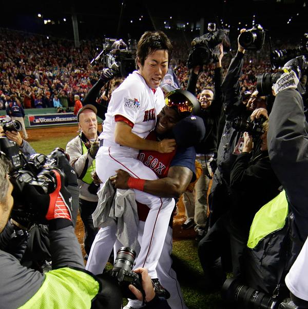 David Ortiz celebrates with Koji Uehara after Game 6. (AP Photo/Matt Slocum)