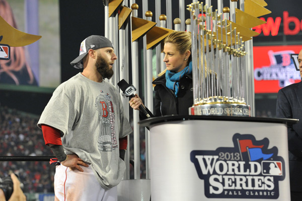 Dustin Pedroia speaks to Fox reporter Erin Andrews after the game. (Michael Tureski/Icon SMI)